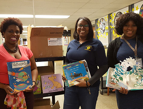 American teachers at book drive event
