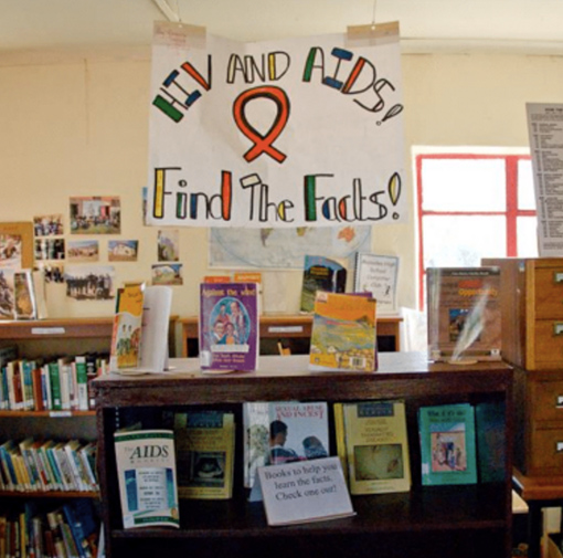 HIV Banner hanging in Library